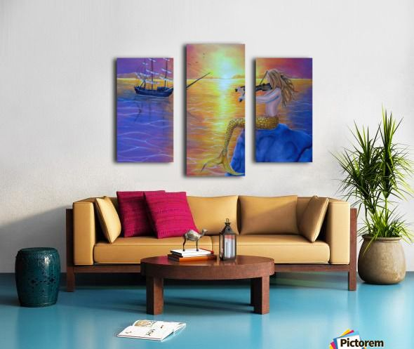 Triptych, 3 split,  stretched, canvas, multi panel, prints, for sale, mermaid,ocean,scene,aquatic,creature,seascape,ship,sailboat,marine,nautical,mythical,mythological,legendary,fantasy,dreamscape,sitting,sunset,sunlight,tail,fin,enchanting,vivid,colorful,purple,water,atmospheric,nude,feminine,rock,violin,fiddle,player,long,hair,performance,music,imagination,contemporary,realism,figurative,fine,oil,painting,wall,art,images,home,office,decor,artwork,modern,items,ideas,pictorem