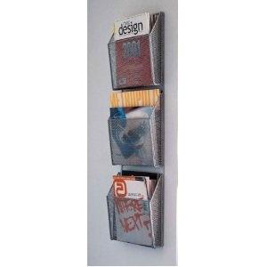 wall mounted triple magazine holder