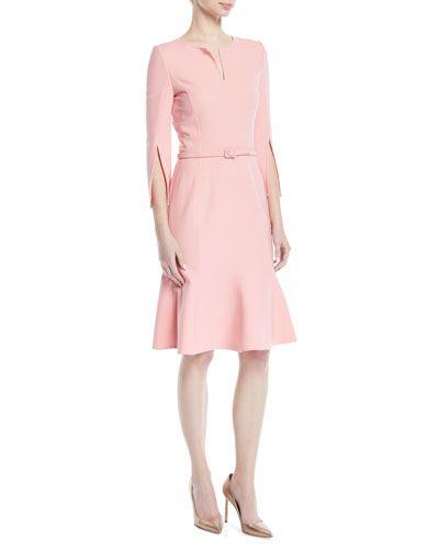 c9e443a3c3 Oscar De La Renta Belted Stretch-Wool Dress with Slit Neckline   Sleeves