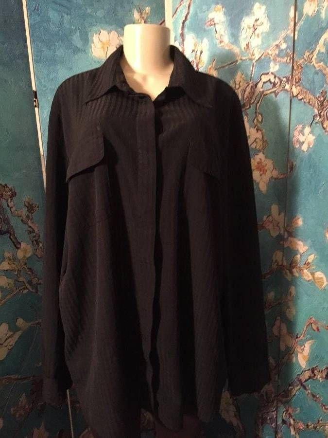 DRESSBARN PLUS 3X BLACK BUTTON TEXTURED SEMI-SHEER STRIPES LONG SLEEVE TUNIC TOP #dressbarn #ButtonDownShirt #Career