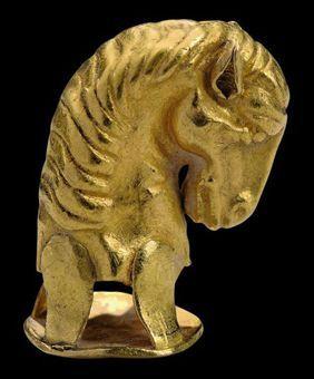 (Russia) A Scythian Gold Horse head final. circa 5th -4th century BCE.