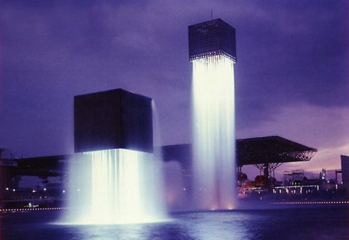 Modern fountains with cool lighting.