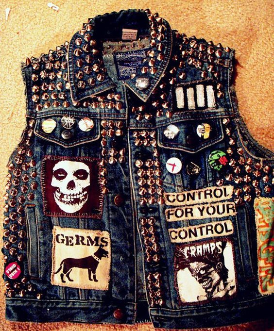 Punk jean vest with custom patches and gold mushroom spikes.. Get the supplies to make it: http://mjtrends.com/pins.php?name=gold-spikes-for-punk-vest