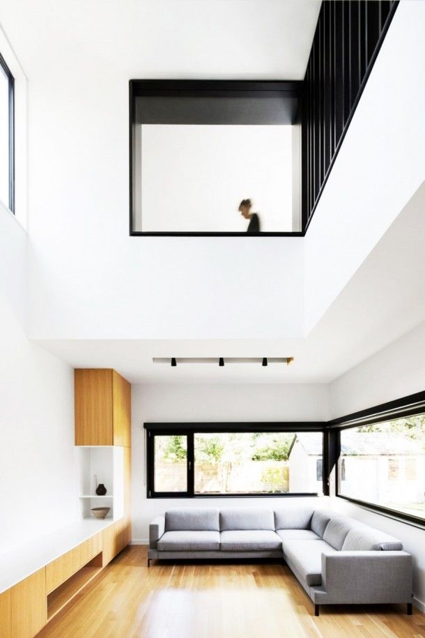 Living Room - Minimalist Living Room Design In Classic House With Grey Sofa And Brown Floor Which Is Made From Wooden Material: Bewitching M...