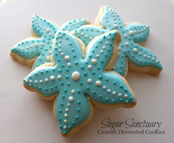 Starfish Cookies Beach-Wedding Party Favors-2 Dozen Individually Wrapped-You Pick Colors