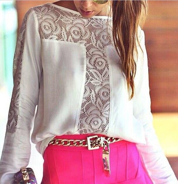 blusas 2014 mulheres verão nova moda camisas casual chiffon patchwork renda manga longa gola barra em Blusas - Feminino de Roupas & acessóri...