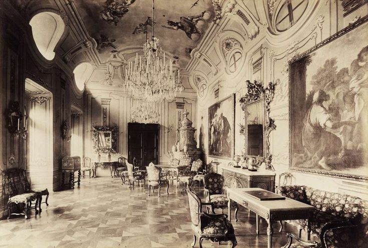 a Szapáry-kastély díszterme. A felvétel 1895-1899 között készült. A kép forrását kérjük így adja meg: Fortepan / Budapest Főváros Levéltára. Levéltári jelzet: HU.BFL.XV.19.d.1.13.042