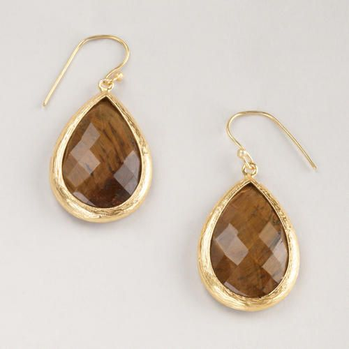 Gold and Tiger's Eye Drop Earrings