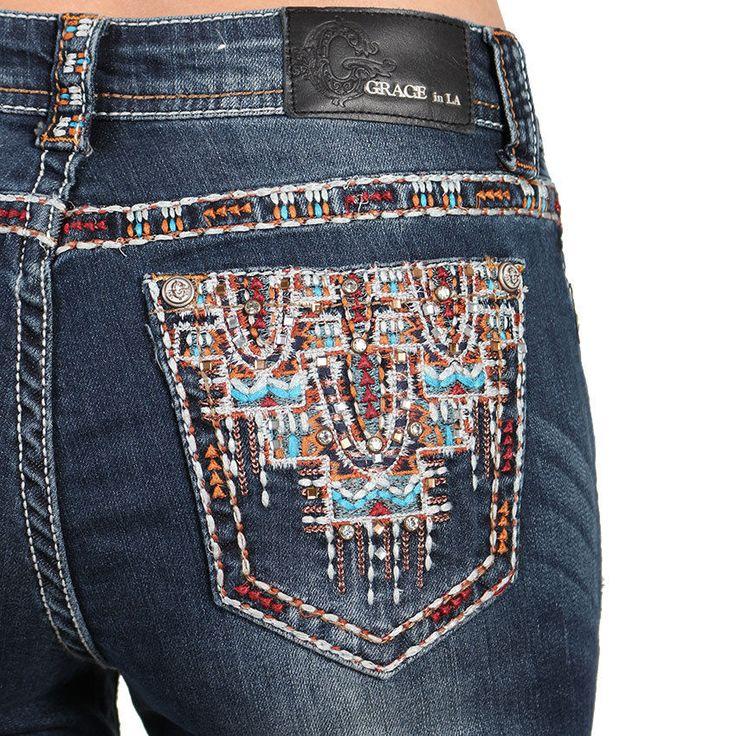 New GRACE IN LA Jeans Cheap Sale Mid Rise Easy Boot Stretch Jean 27,30,31 L  #GraceInLA #BootCut