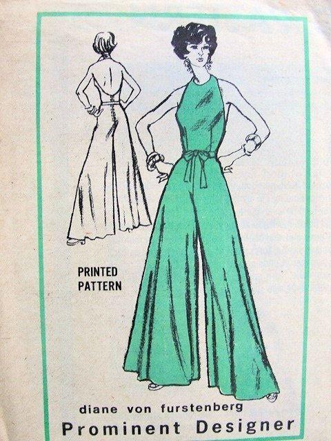 70s DVF Evening Formal Halter Palazzo Pants Jumpsuit Pants Dress Bust 34 UNCUT
