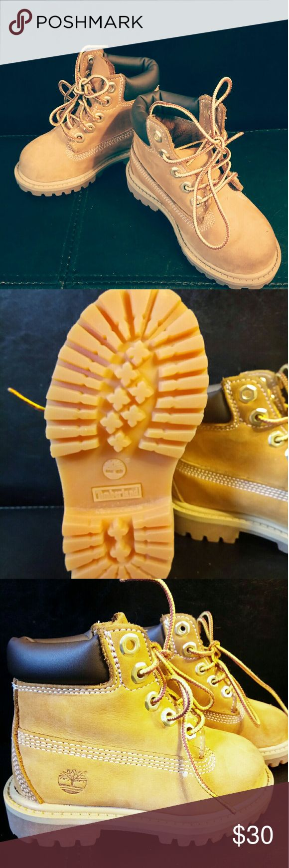 ???? Toddler Boy Timberland These size 6 toddler boys Timberlands are for sale. As seen in the pictures the Sole is Brand new hardly worn. Just a few marks on the nose of the shoe. But in Great condition Timberland Shoes Ankle Boots & Booties