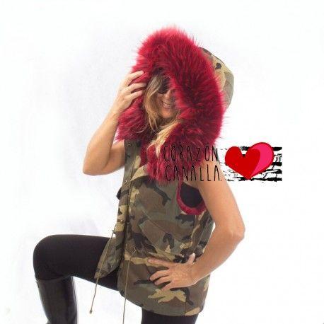Este invierno se lleva!!!  Chaleco militar mujer con pelo granate rosa o fucsia ....