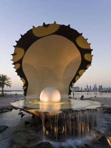 Pearl Monument on the Corniche of Doha Bay, Doha, Qatar