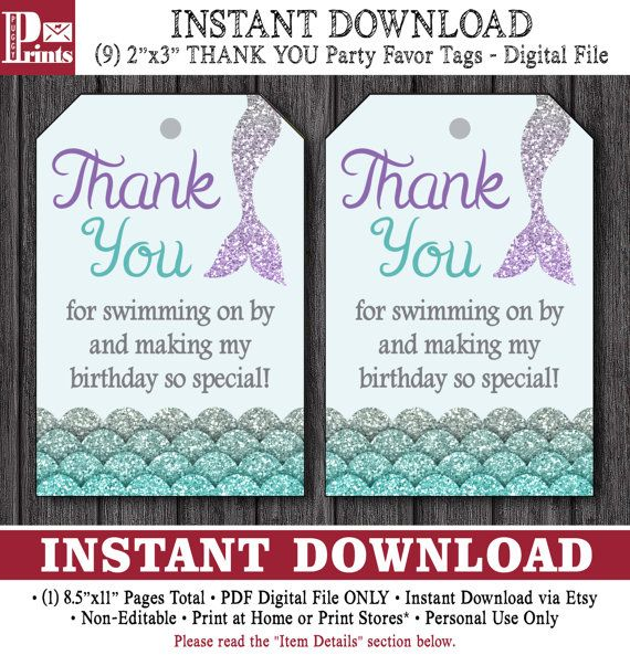 Mermaid Birthday Favor Tags - Mermaid Thank You Party Favor Tags - Printable Digital File - INSTANT DOWNLOAD