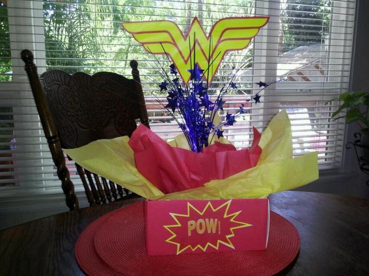 Do it yourself wonder women centerpiece made from dollar for Do it yourself centerpieces for birthday