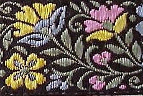 Jacquard, Ribbon Trim. Wild Flowers