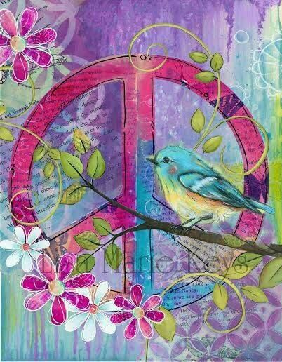 Bohemian Chic ~ Teen Wall Decor ~ Peace Bird ~ Pink Purple Turquoise ~ Peace…