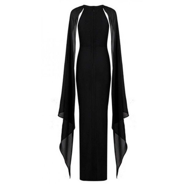Elvira Chiffon And Bandage Cape Plus Size Gown ($238) ❤ liked on Polyvore featuring dresses, gowns, evening cocktail dresses, plus size ball gowns, full length evening dresses, bandage dress and chiffon gowns