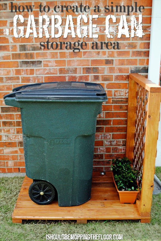Great tutorial to create a simple garbage can storage area. Step-by-step photos and detailed instructions. Put this together in one morning....