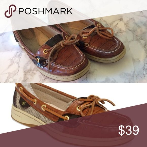 Sperry Angelfish Tan Croc Boat Shoes - Size 7 EUC- close to no wear! Sperry Top-Sider Shoes Flats & Loafers