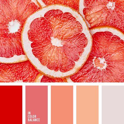 красный, оранжевый, оттенки алого, оттенки мякоти грейпфрута, оттенки оранжевого, светло-грейпфутовый, светло-оранжевый, серо-оранжевый, серый, цвет грейпфрута, цвет мякоти грейпфрута, яркий красный.