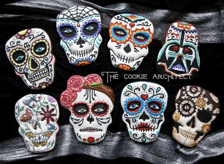 sugar skull face painted decorated cookies for dia de los muertos including a stormtrooper the cookie architect - Halloween Cookies Decorating Ideas