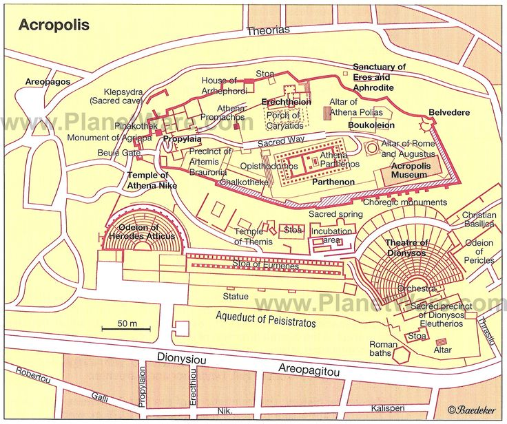 Map of Athens, one of the biggest cities in Classical Greece.