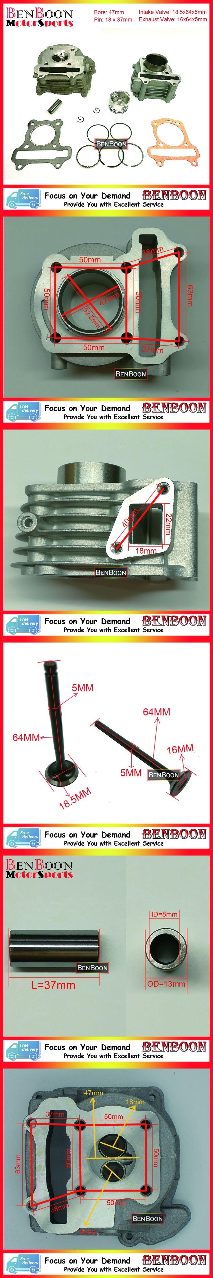 GY6 80cc 47mm Cylinder & Head Kit for 4T 139QMB Engine Scooter Parts ATV Parts Roketa, Taotao, Baotian, Znen, Free Shipping