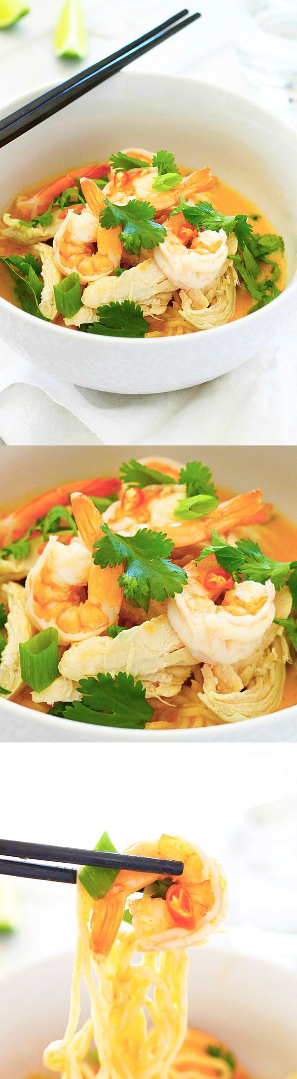 Coconut Curry Noodle Bowl – incredibly delicious, light, and refreshing Coconut Curry Noodle Bowl topped with chicken, shrimp, and herbs | rasamalaysia.com