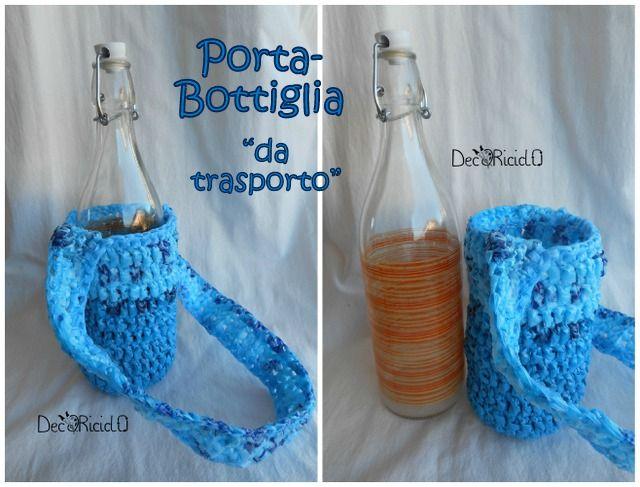decoriciclo: Porta-bottiglia, di plastica all'uncinetto
