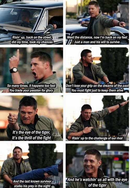 I will never be able to listen to Eye of the Tiger with a straight face ever again thanks to Jensen Ackles