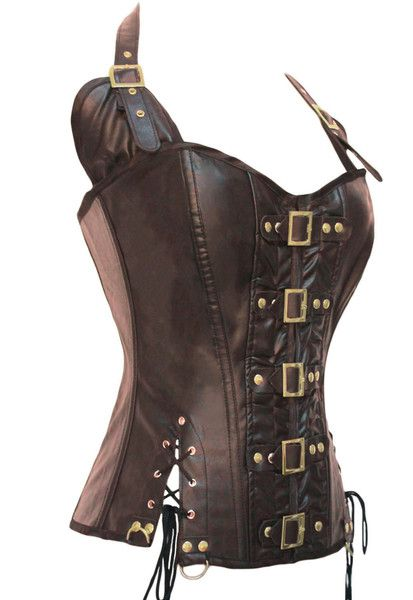 Coffee Buckle up Steampunk Corset