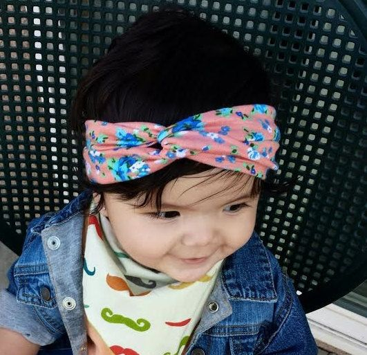 Peach Blue & Green Floral Twisted Crossover Turban Headband headwrap children and adult