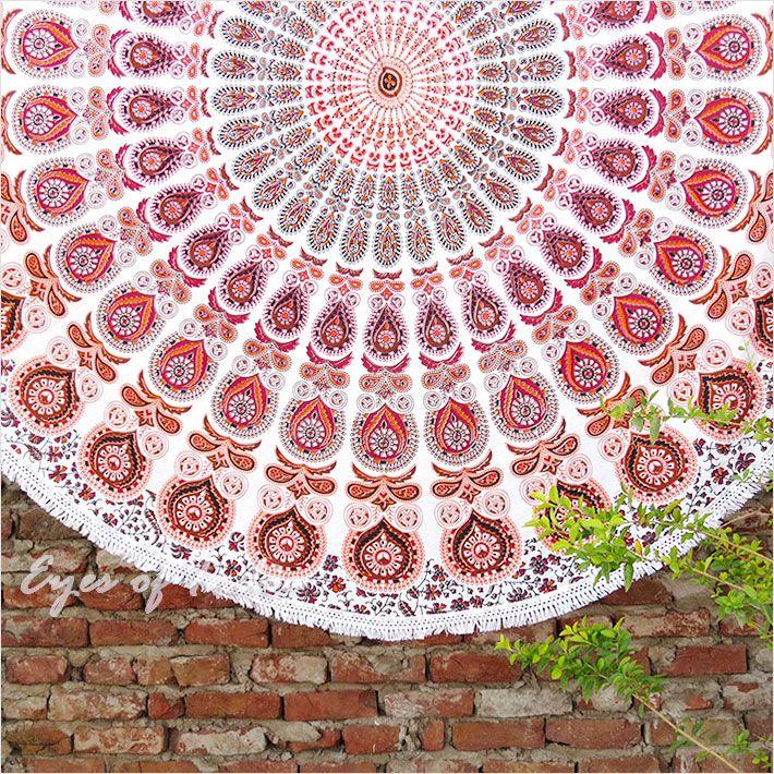 "Mandala Peacock Roundie Beach Picnic Spread Hippie Towel Tapestry Tablecloth - 80"" (Orange)"