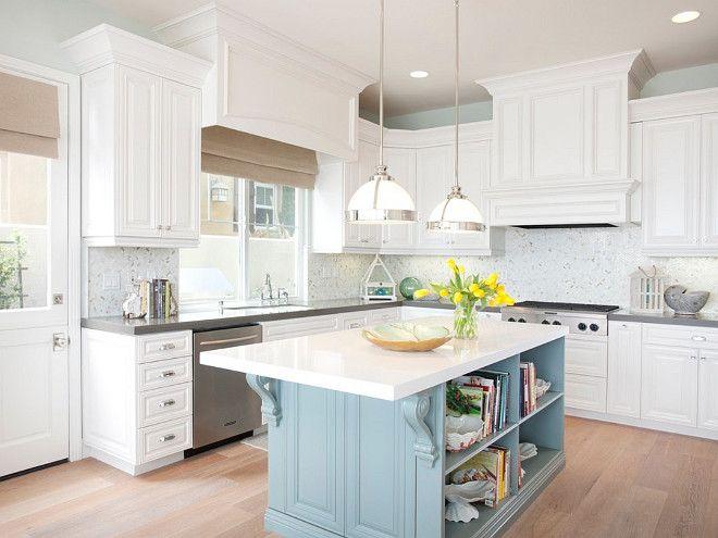 traditional kitchen featuring a light blue island white quartzite countertops patterned on kitchen island ideas white quartz id=29692