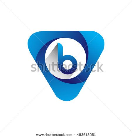 Logo letter B blue colored in the triangle shape, Vector design template…