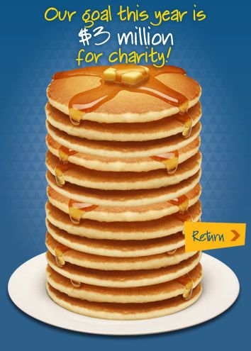 IHOP National Pancake Day  Tuesday March 4, 2014 IHOP gives free pancakes and hopes everyone will donate money to help the children at their local children's hospital.  ALL of Utah donations go to Primary Children's Hospital.  Win Win-- You can donate and get a $5 coupon for a future purchase.