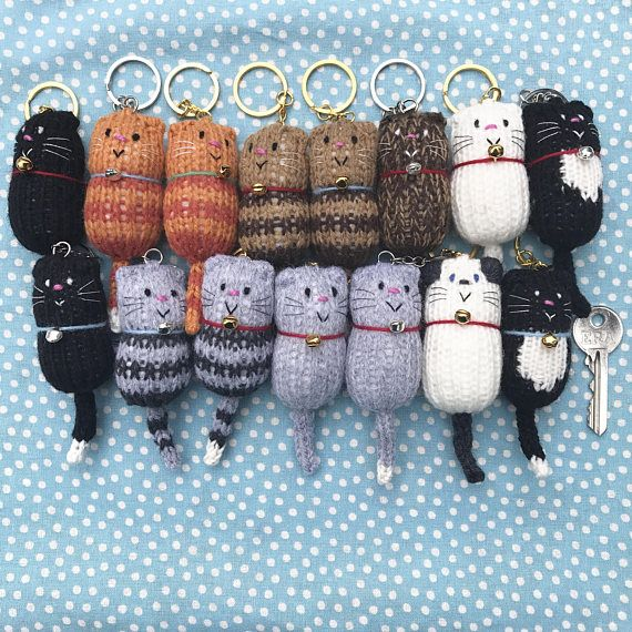 Cat – Fat Cat Hand Knitted Keyring, Keychain, Keyfob, Bag charm, Cat lover Gift – Sophie Reinhold