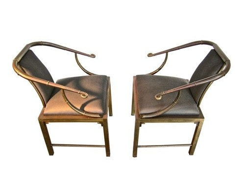 talk about SEXY!!! this pair of beautifully patinad Brass, Empress Chairs by MASTERCRAFT circa 1960's available @ m[E]  $4750