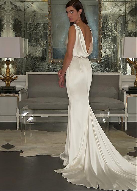 Magbridal Elegant Stretch Satin Cowl Neckline Sheath Wedding ceremony Costume With Beadings & Rhinestones