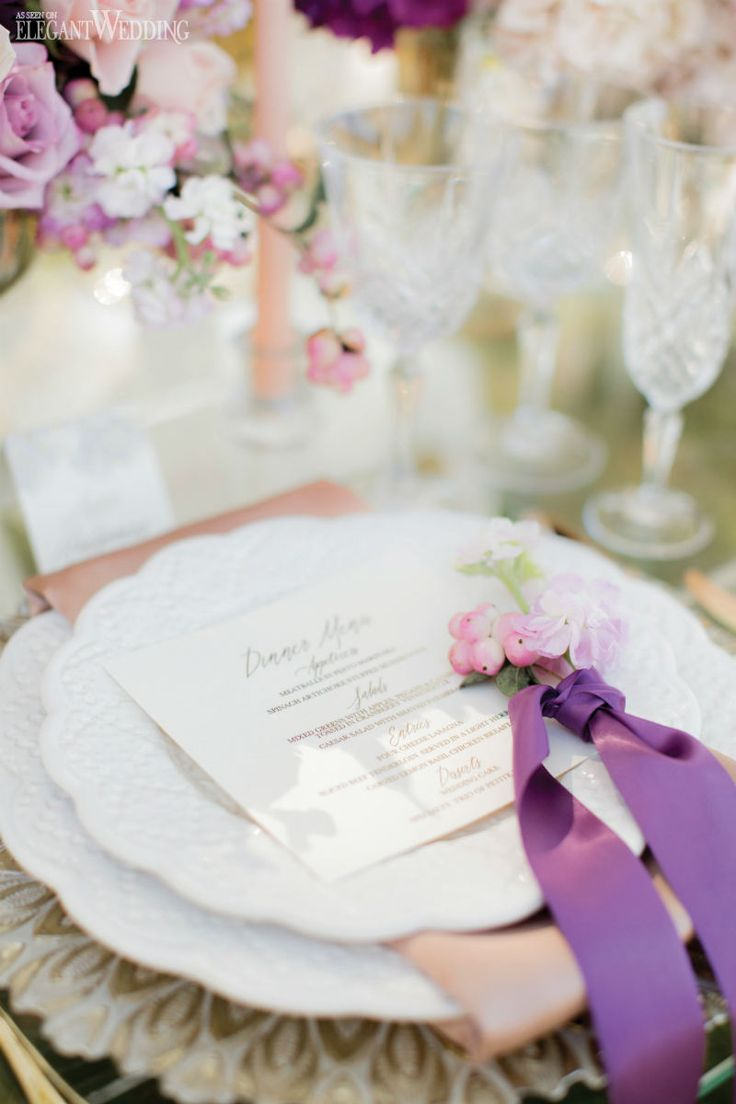 Purple And White Wedding Table Setting Place