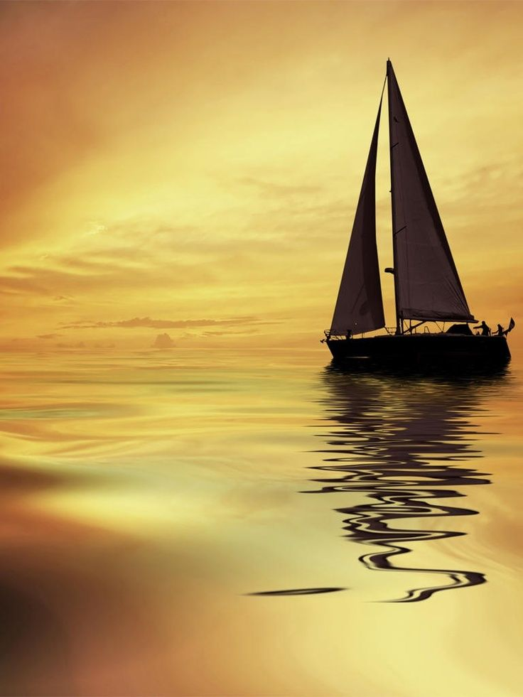 sailboat in the sunset artwork | ☆☆ ART ☆☆ | Sailing, On ...