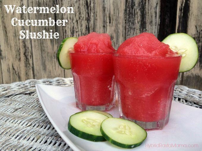 3 cups seedless watermelon, 1 cup cucumber, peeled - 1/4 cup lemon juice, 3-4 tablespoons honey, 1/4 teaspoon sea salt, 3 cups ice cubes