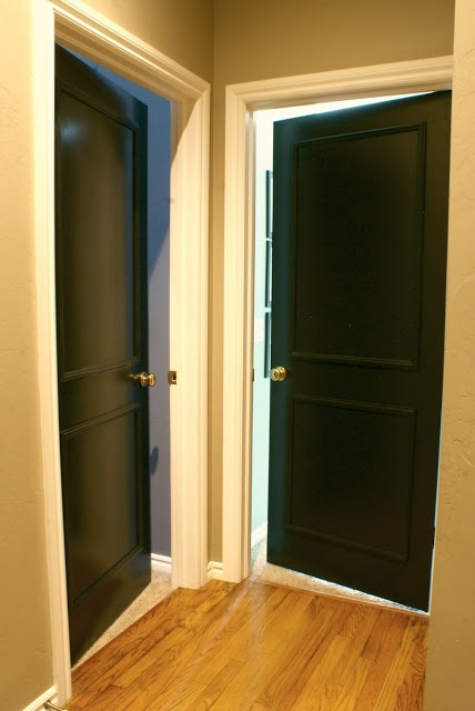 BLACK INTERIOR DOORS with trimmed out faux panels.  So excited to be doing this on the inside church doors!