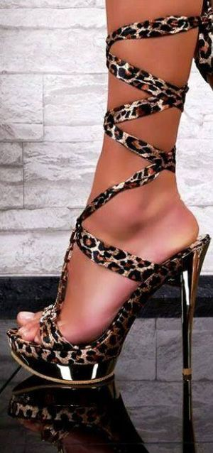 Sexy High Heels Leopard & Gold