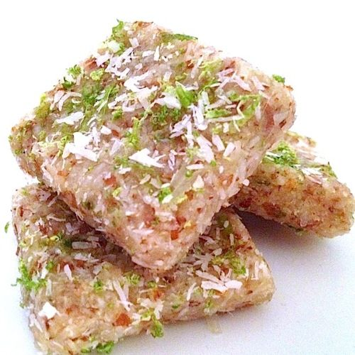 COCONUT LIME BARS (Vegan, Gluten Free): Tasti Recipe, Coconut Limes, Limes Bar, S'More Bar, Healthy Snacks, Bar Healthy, Healthy Food, Raw Coconut, Snacks Recipe