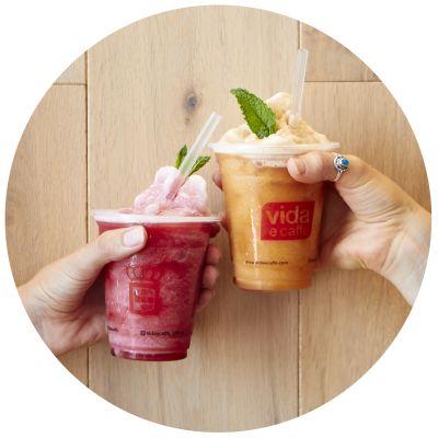 Summer arrived at Vida e caffe! Celebrate summer with our fruit frios!