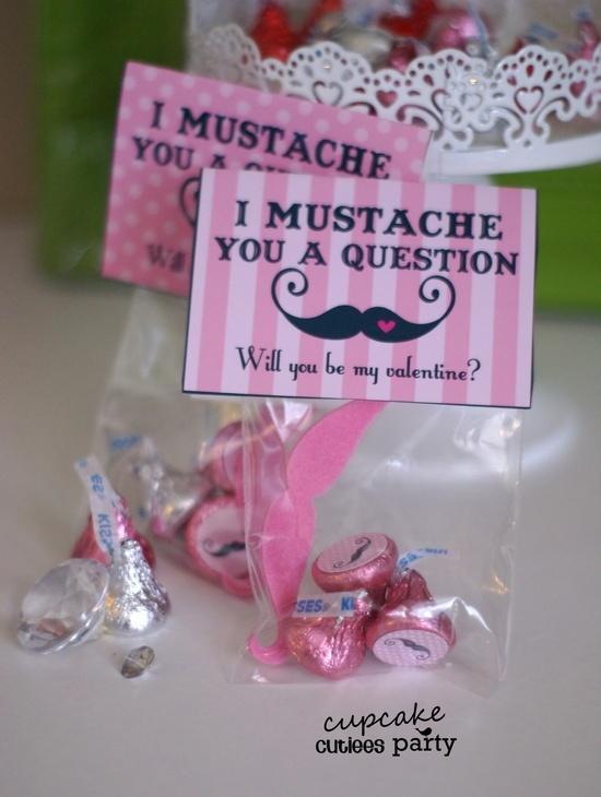Cupcake Cutiees: Mustache Girls Valentine DIY Card  Candy Kisses Card Craft Set