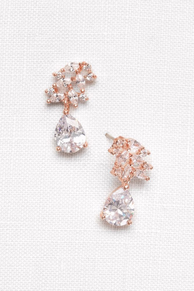 Cubic Zirconia Petals Pear Drop Earrings Style E310563