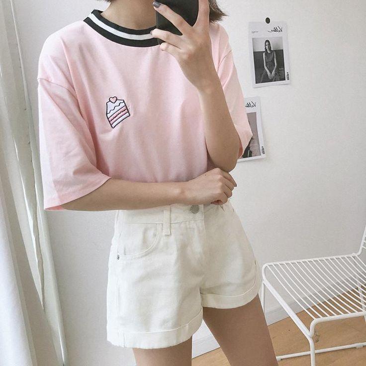 Women Pink Tee Shirt Clothes Fashion Cute Modern Short Sleeves Stylish Words
